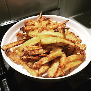 Healthy, crispy air fryer French Fries with very little oil ... can be done in the oven too