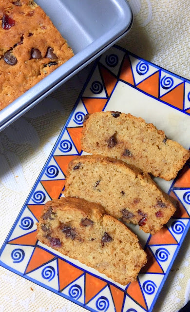 Eggless Banana Chocochip Bread with Cranberries and Coconut Sugar for #Breadbakers
