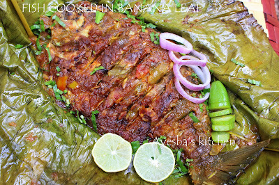 FISH COOKED IN BANANA LEAF / FISH POLLICHATH  (With bilimbi fruit)