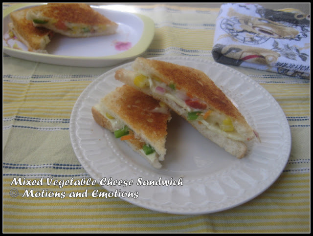Mixed Vegetable Cheese Sandwich