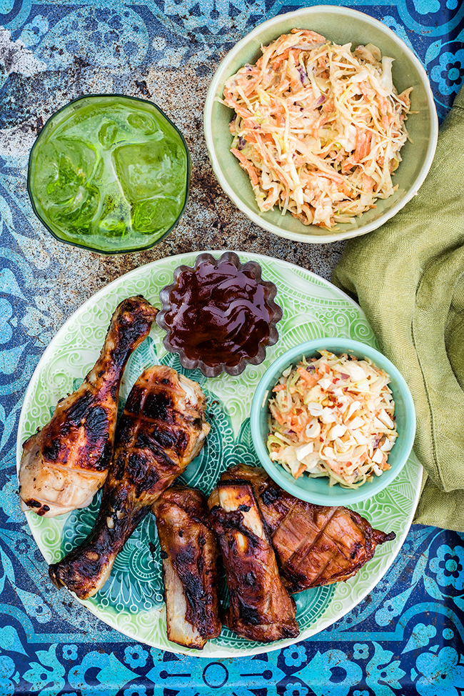 Asian Coleslaw with BBQ Ribs