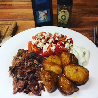 "Grenglish - Slow Cooker ""Roast"" Lamb with Tesco Cypriot New Potatoes, tomatoes, feta and tsatziki............Raki Optional!"