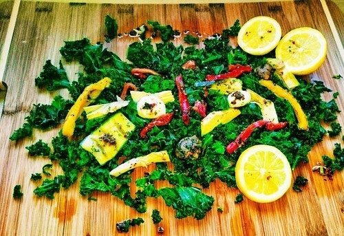 Kale Salad with Roasted Vegetables