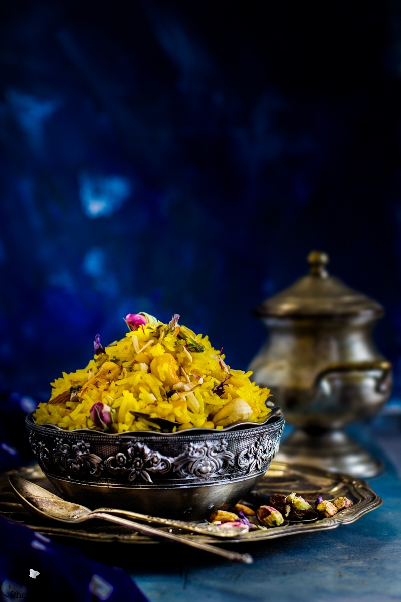 Biranj - Gujarati Sweet Rice and Bengal Gram with Nuts, Raisins and Aromatic Spices