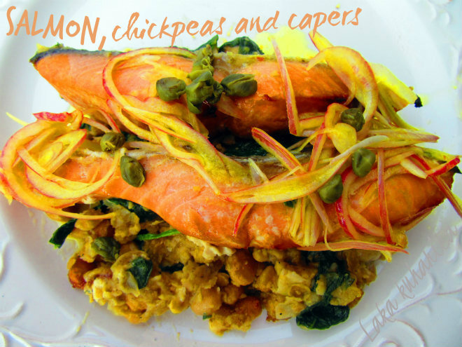 Losos sa slanutkom i kaparima ::  Salmon with chickpeas and capers