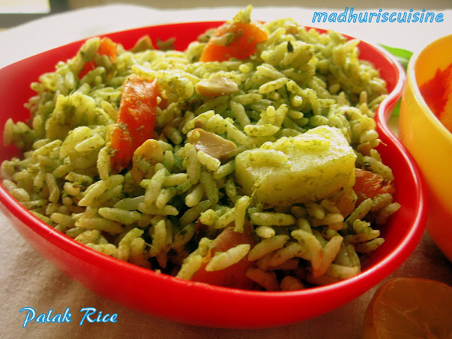 Palak Rice / Palakura Annam / Spinach Rice