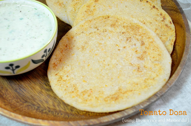 Tomato Dosa (Using Brown Rice and Masoor dal) | No Fermentation Dosa