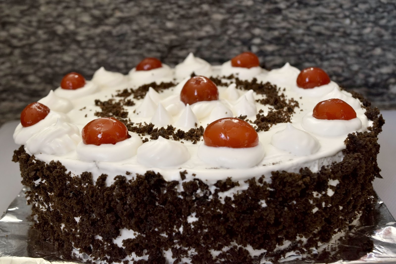 Simple Black forest cake/ Black forest pastry ~~Eggless Baking