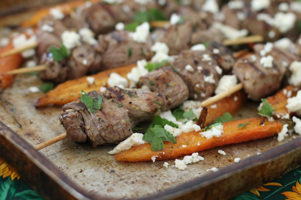 Grilled Lamb Skewers with Roasted Carrots #SundaySupper