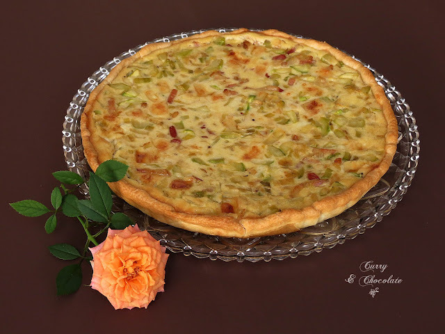 Pastel salado o quiche de calabacín, bacon y queso viejo - Zucchini and bacon quiche