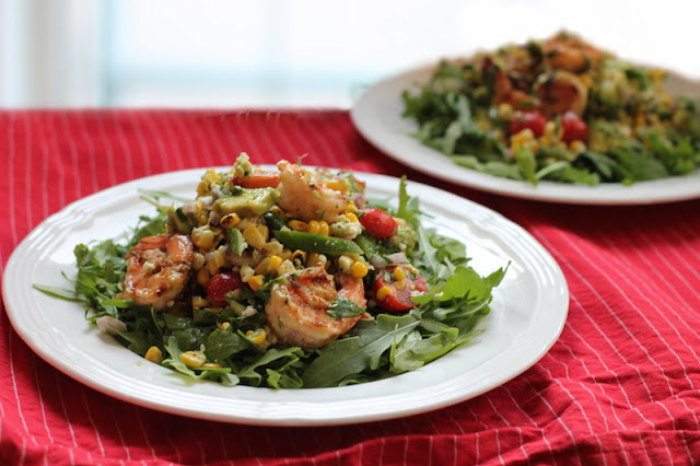 Grilled Shrimp Corn Salad with Avocado Vinaigrette #SundaySupper
