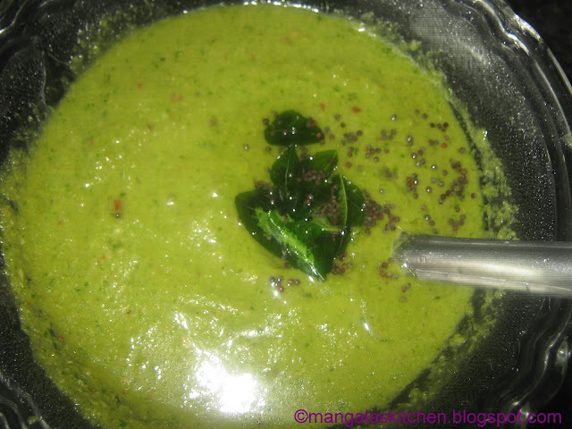 Coriander leaves Chutney / Green Chutney with onions - Kothamalli Chutney Recipe - Side dish for   Idli and Dosa