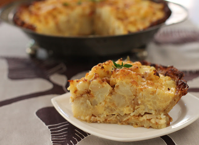 Cauliflower Cheese Pie with Grated Potato Crust #SundaySupper