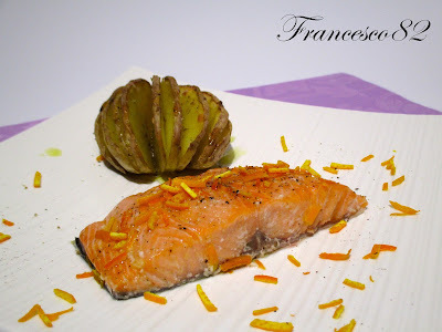 Salmone all' arancia cotto a bassa temperatura con Fresco