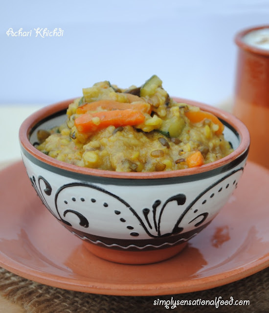 Achari Khichdi (Spicy Rice porridge with Lentils)