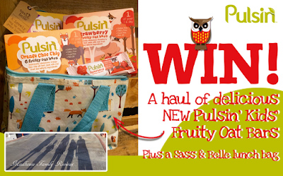 Giveaway #544 : Win delicious NEW Pulsin' kids' fruity oat bars and a Sass & Bell lunch bag - closing date 28/3