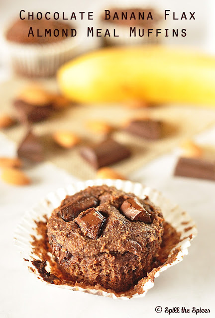 Chocolate Banana Flax Almond Meal Muffins #BreadBakers