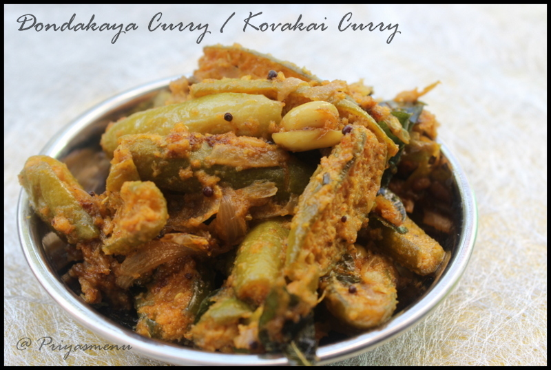 Dondakaya Curry / Ivy Gourd Curry / Kovakai Curry