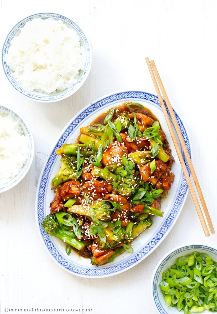Fakeout Chinese: sesame chicken and broccoli