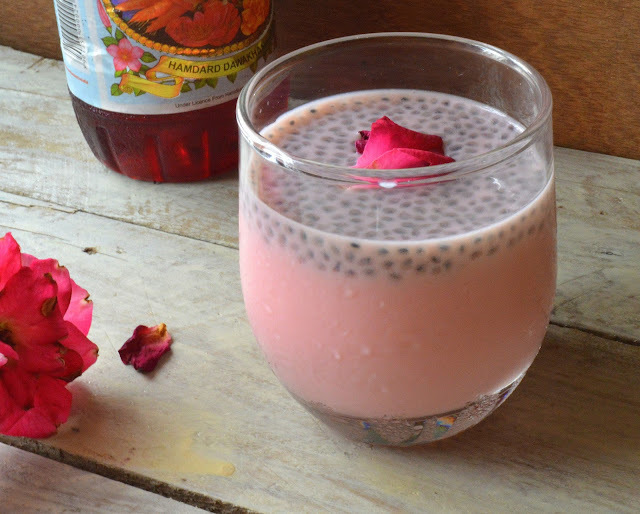 Rosemilk with sabja seeds | Roohafaza with sweet basil seeds | Summer drink
