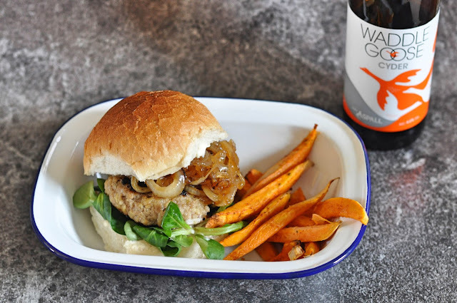 Pork & Apple Burgers with Sticky Cider Onions