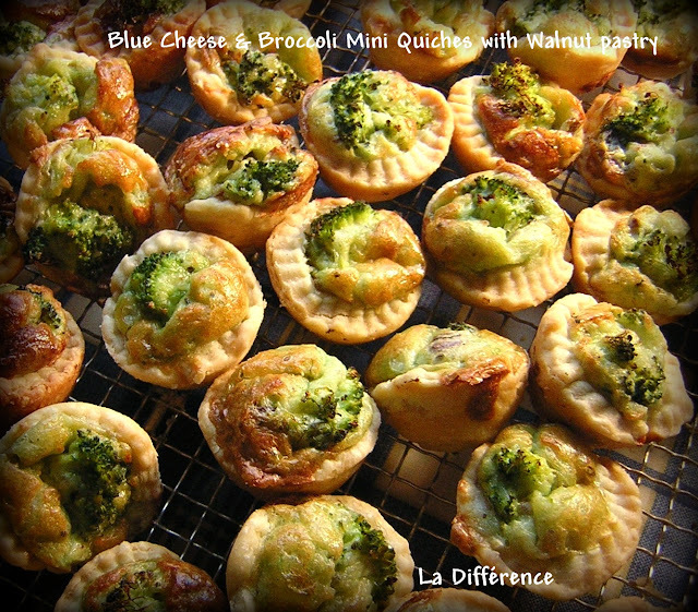 Blue Cheese and Broccoli Mini Quiches with Walnut Pastry