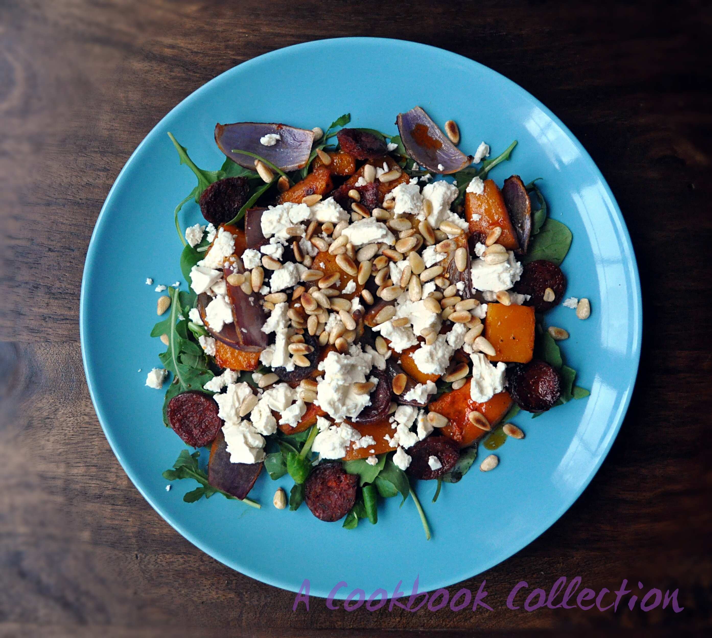 Butternut Squash and Chorizo Salad with Harissa and Feta