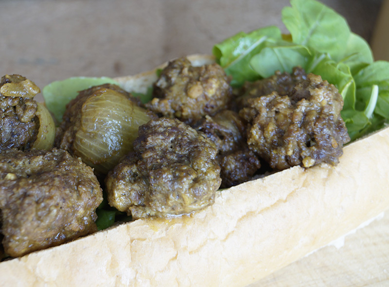 Ostrich curried meatball subs