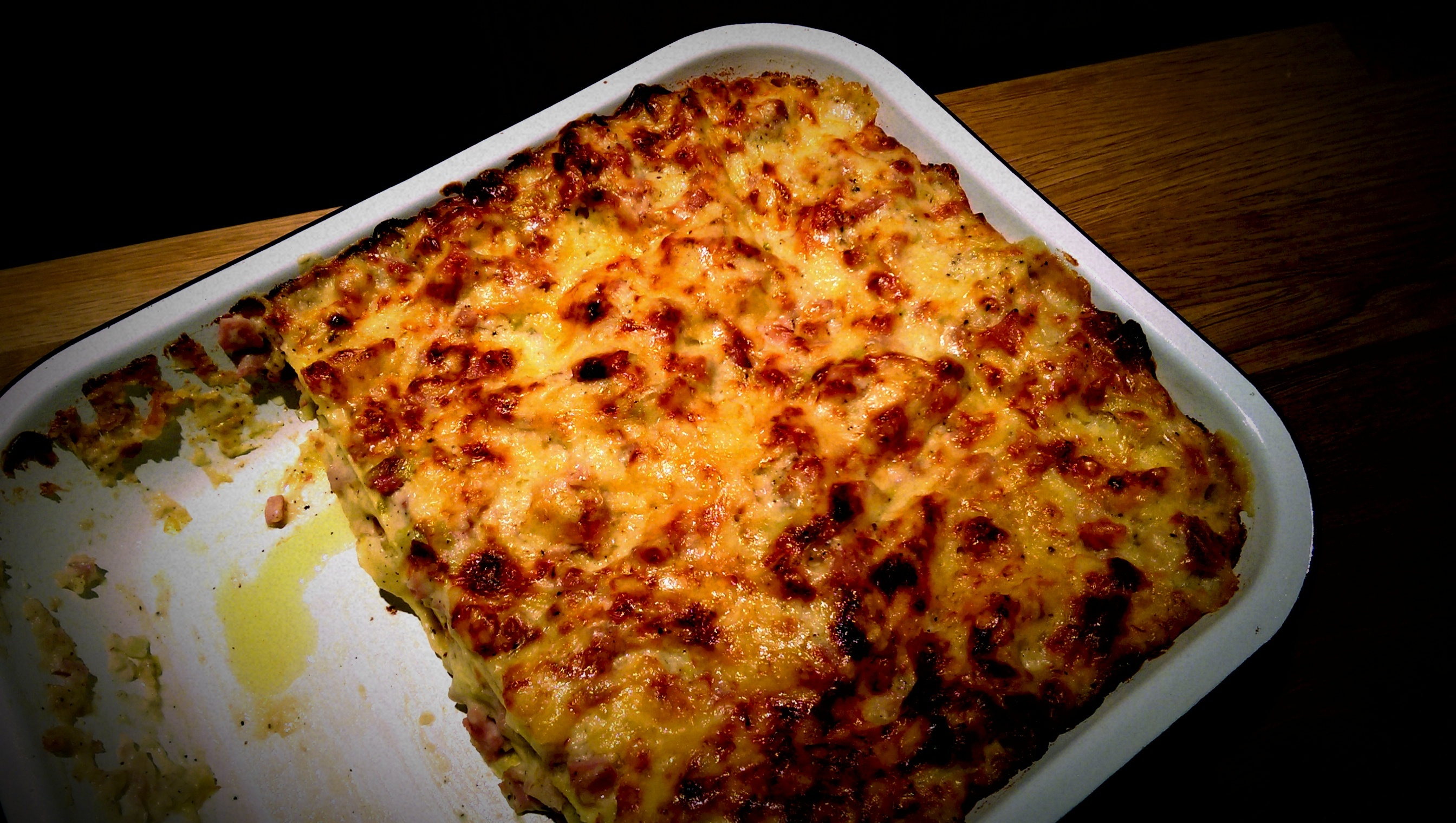 Christmas Ham, Leeks and Mustard Lasagne