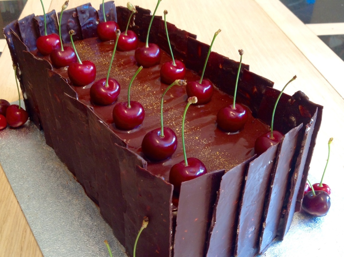 Black Forest Gateau with chocolate cherry mirror glaze (Gluten-free)