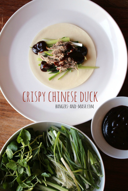 Crispy Chinese duck with pancakes