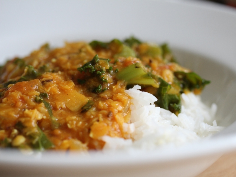 Tarka dal with curly kale