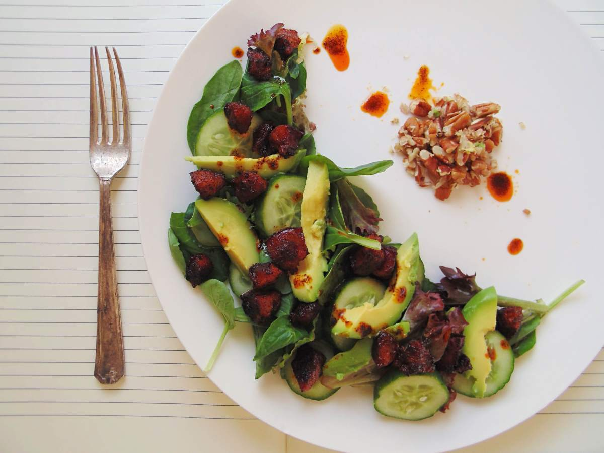 Easy Avocado and Chorizo Salad with Pecan Crumbs and Paprika Dressing