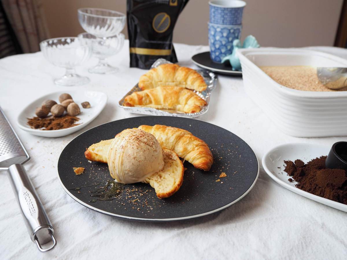 Pumpkin Pie Spiced Latte Ice Cream with Hot Butter Croissants