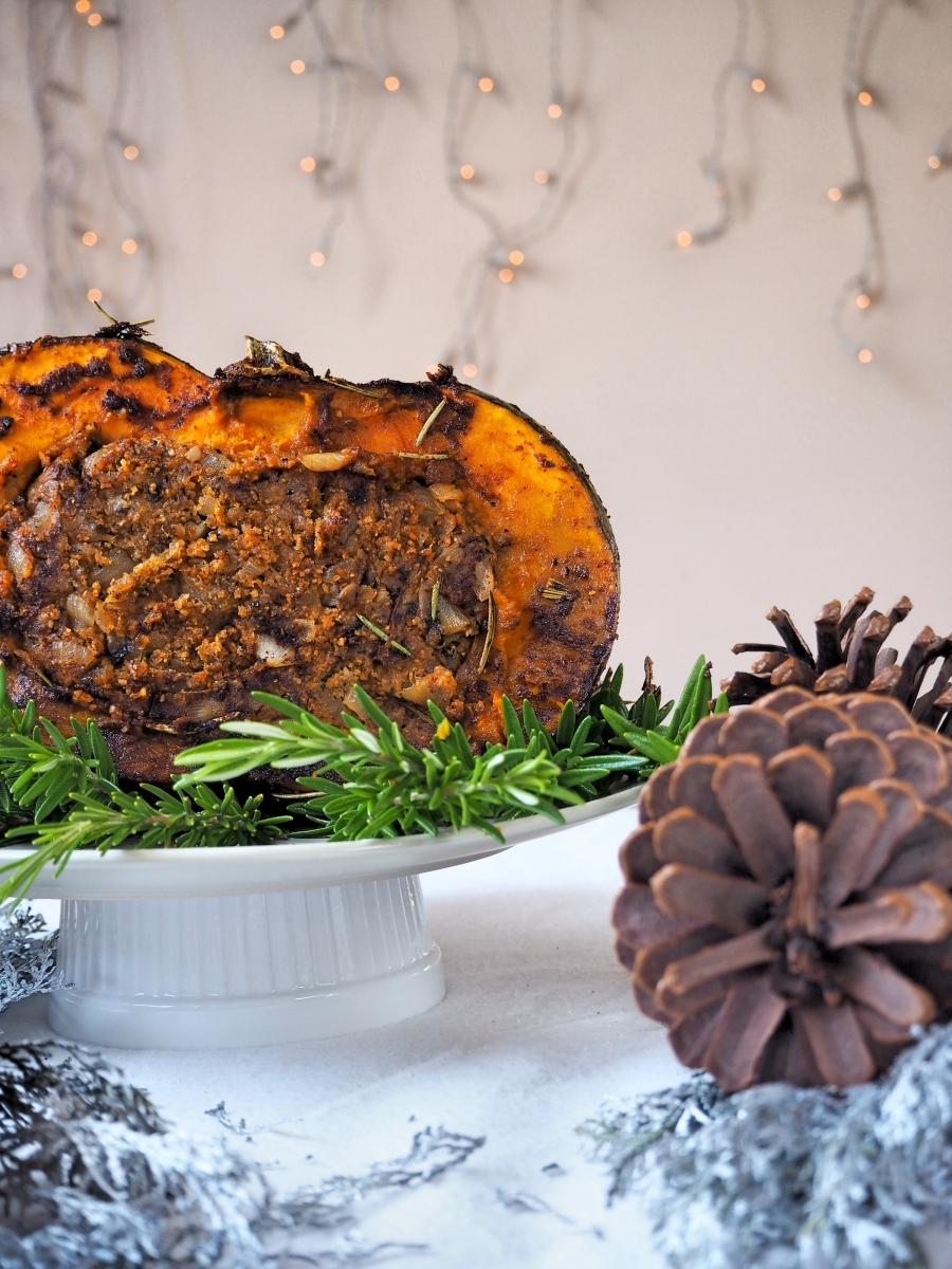 The Ultimate Vegan-Friendly BBQ'd Pumpkin, Mushroom Stuffing and Sticky Onion Gravy