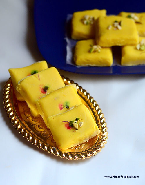 Kesar Burfi Recipe With Milk Powder – Milk Powder Burfi Recipe