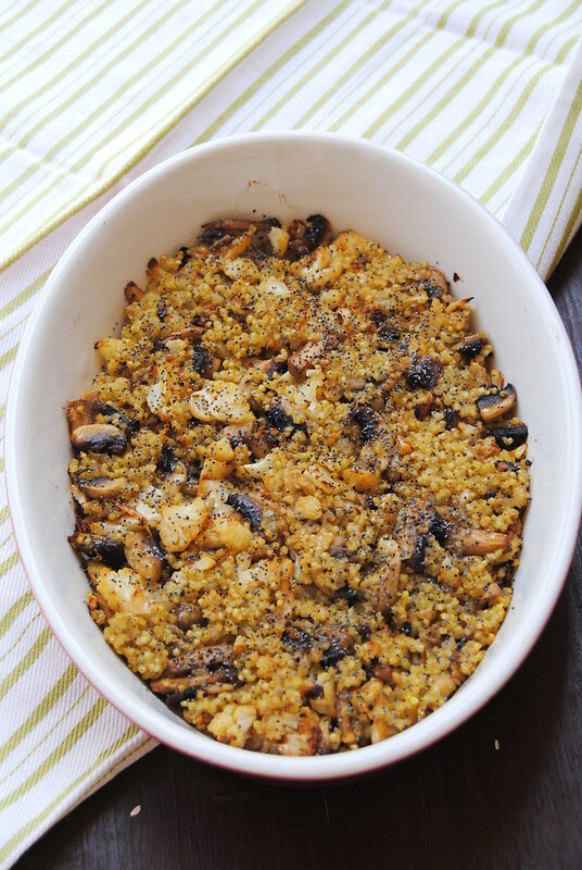 Millet au Gratin with mushrooms and roasted cauliflower