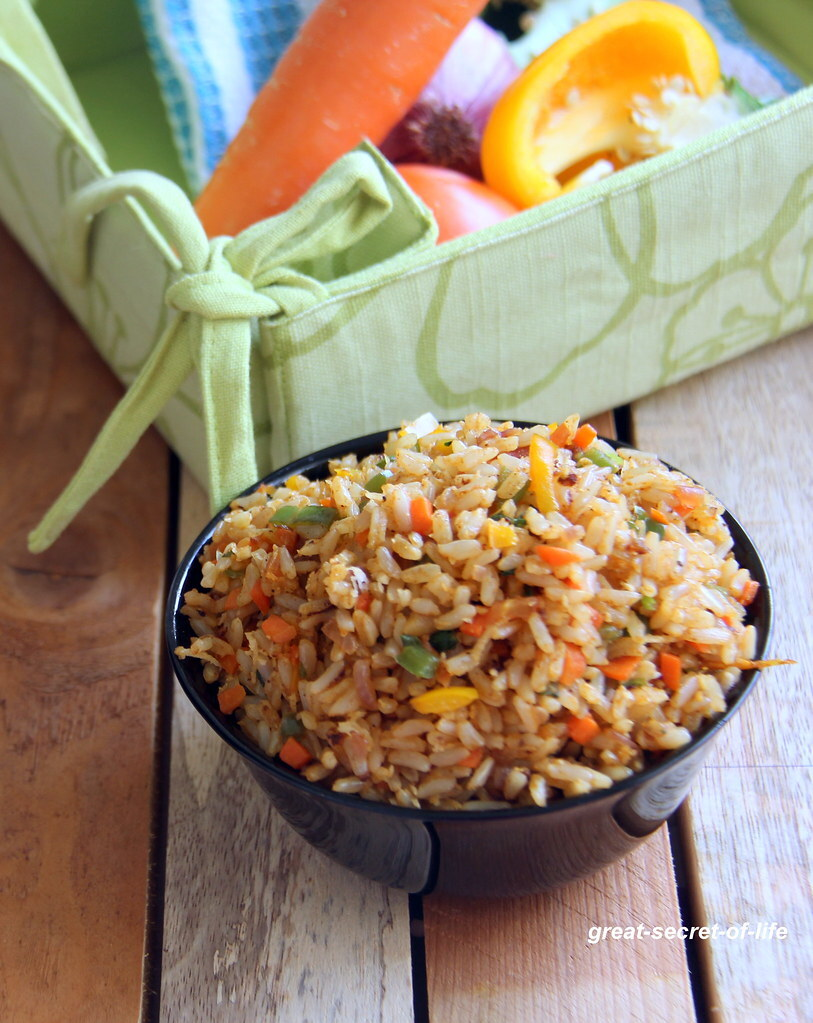 Sambar fried rice - Simple one pot meal - Lunch box recipe - Brown Curry Fried rice - Healthy rice recipes