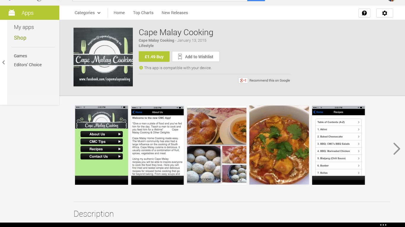 Cape Malay Cooking's Mobile App