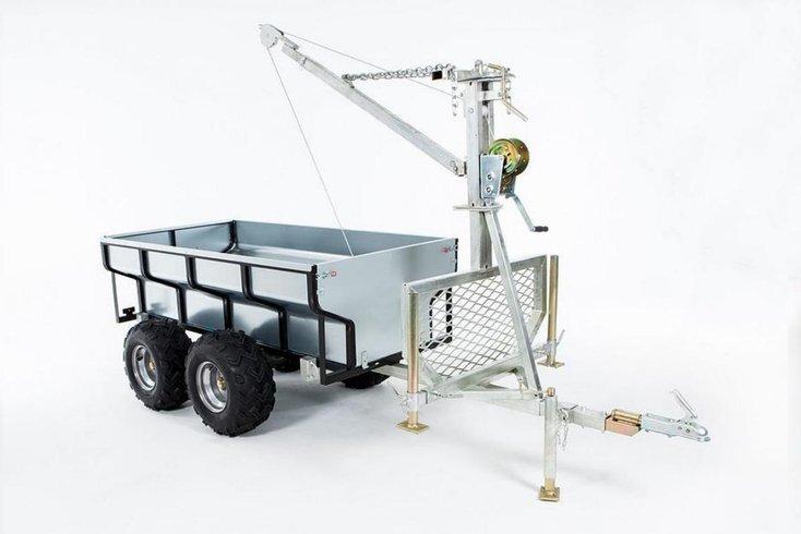 Worker ATV Timmervagn med flak samt kran