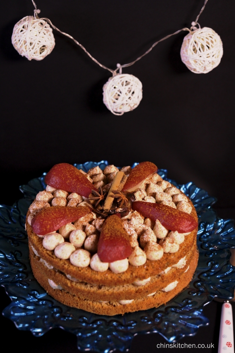 Cinnamon and chestnut layered cake with mulled wine poached pears