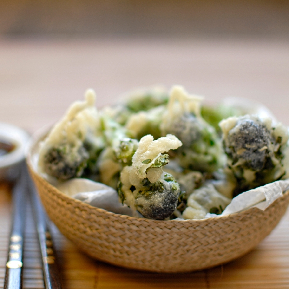 broccoli tempura with soy and ginger dipping sauce
