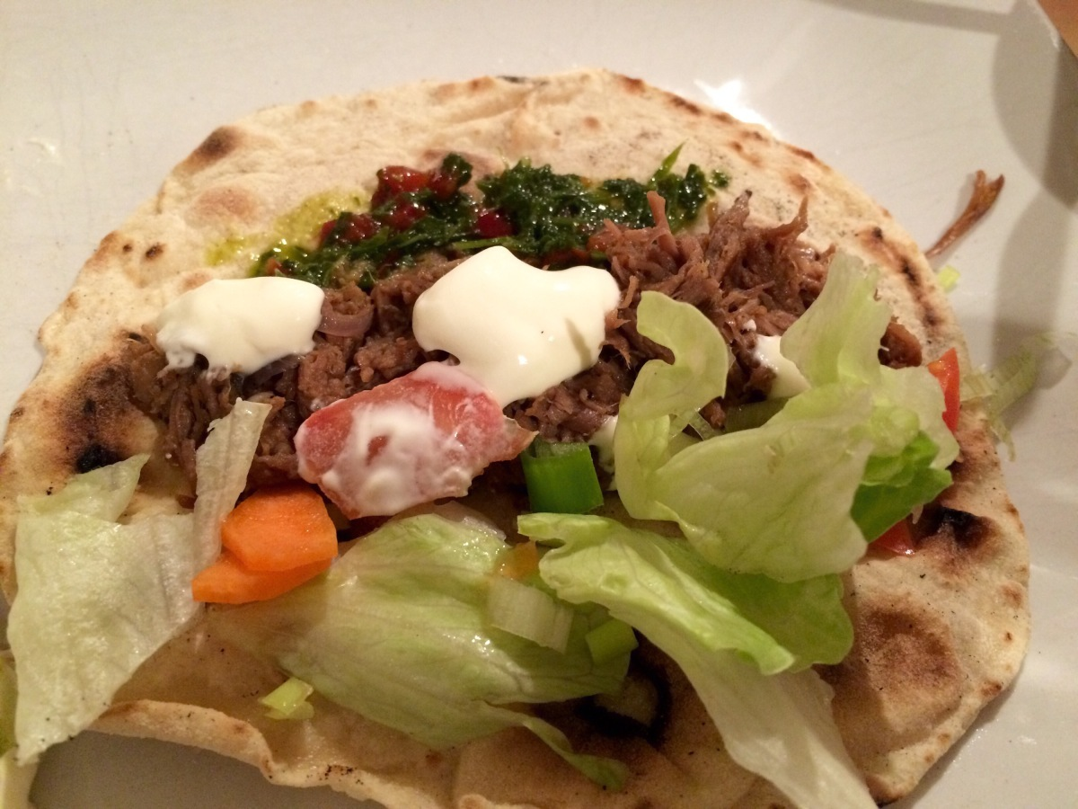 14 hour slow cooked brisket, in flatbreads #tacotuesday