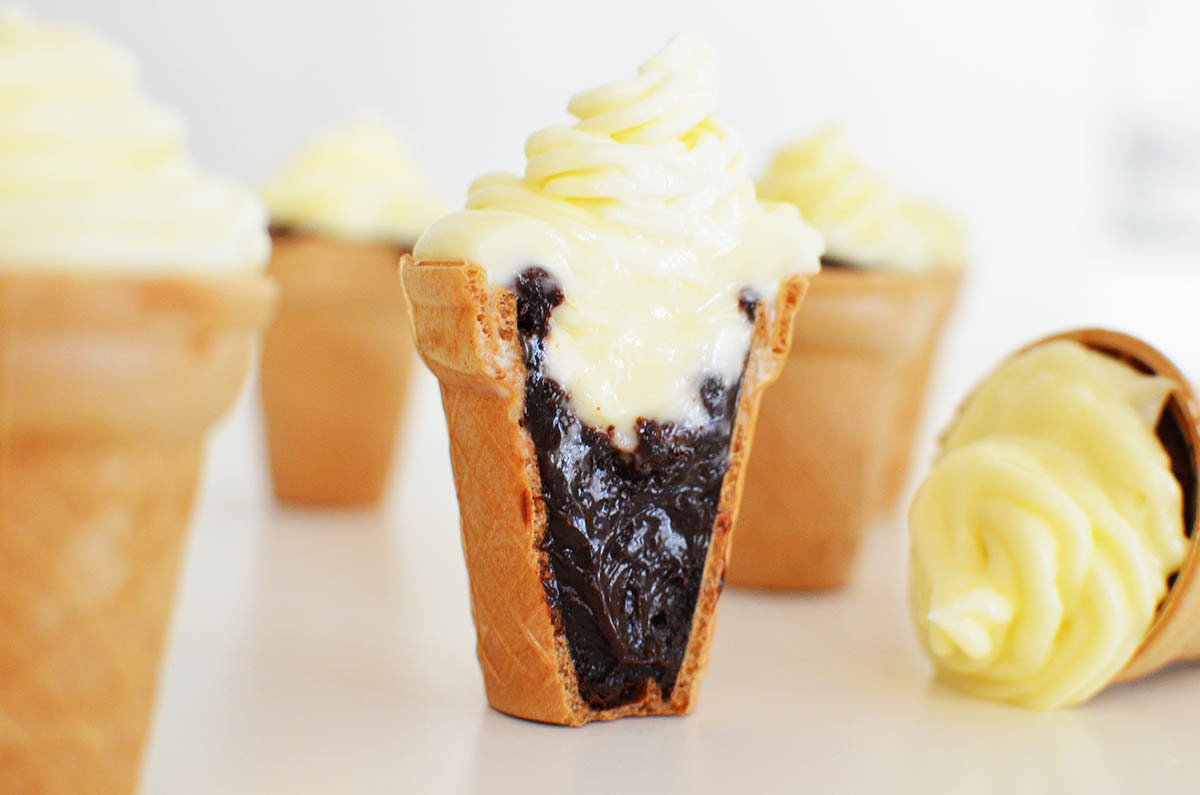 Brownies Cupcakes (looking like ice cream) Recipe