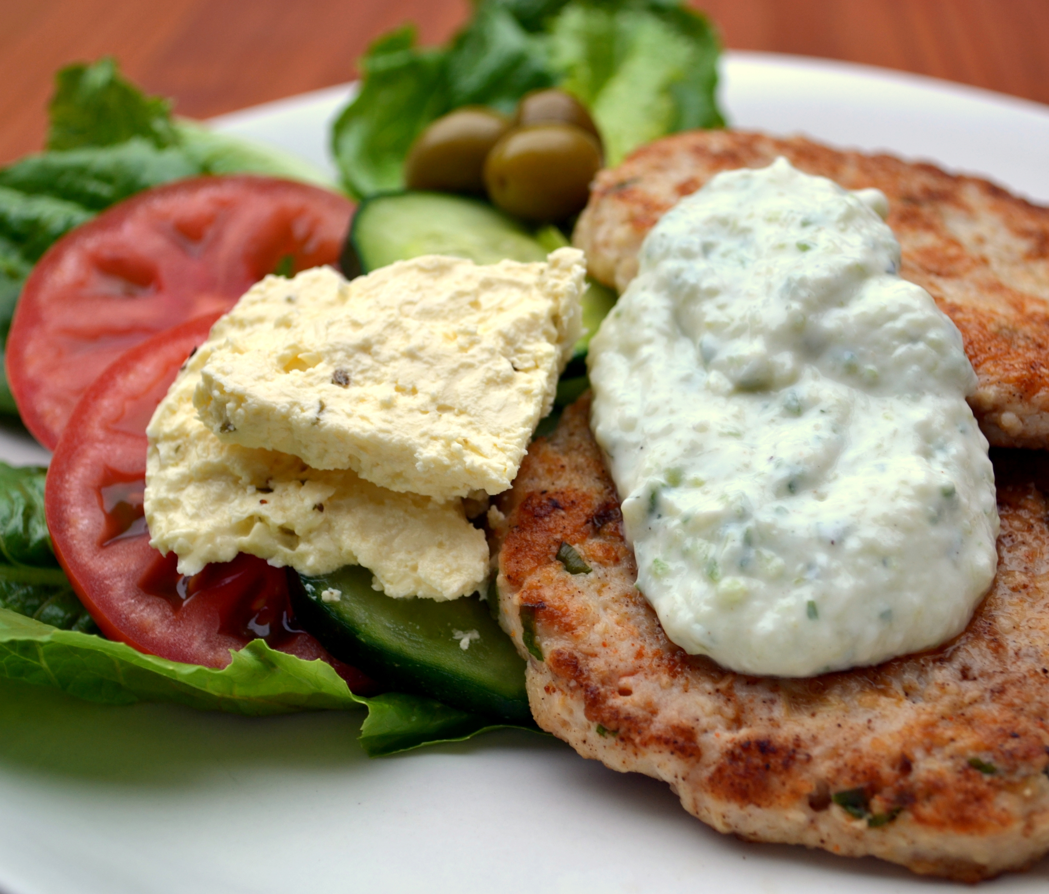 Eat light tonight!  Low Carb open Chicken Greek burgers with Tzatziki