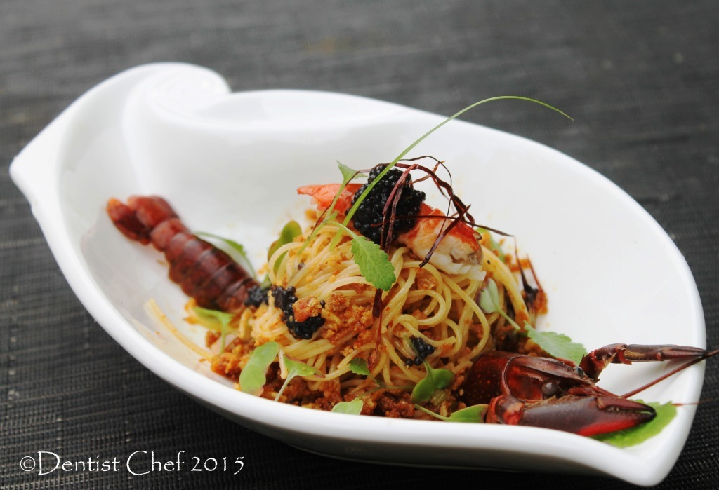 Recipe Spaghetti alla Bottarga di Tonno with Slowcooked Crayfish Lobster Tail