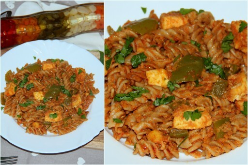I 2 (Indo – Italian) : Capsicum paneer pasta with Basil and Parsley