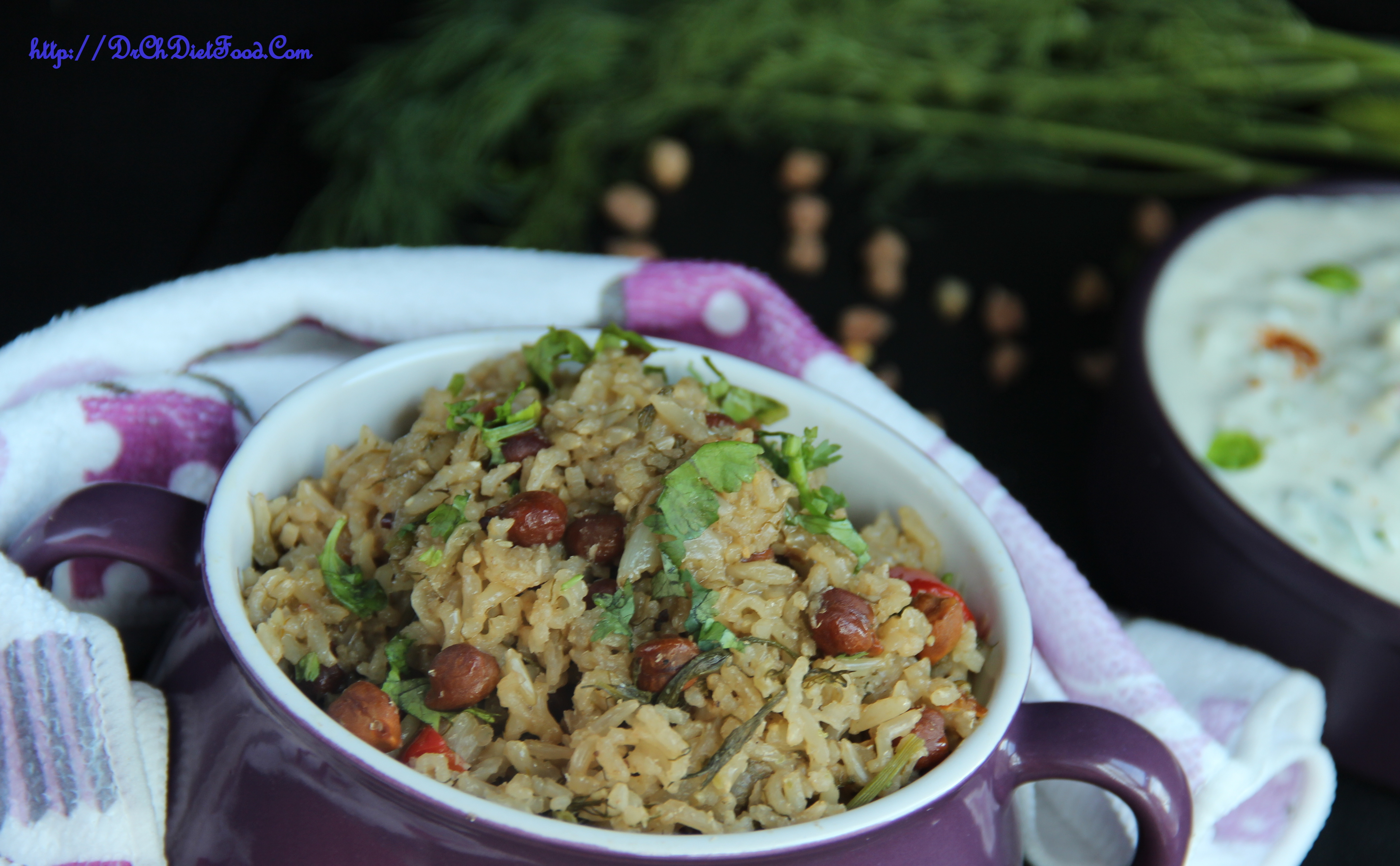 Black channa with dill leaves rice