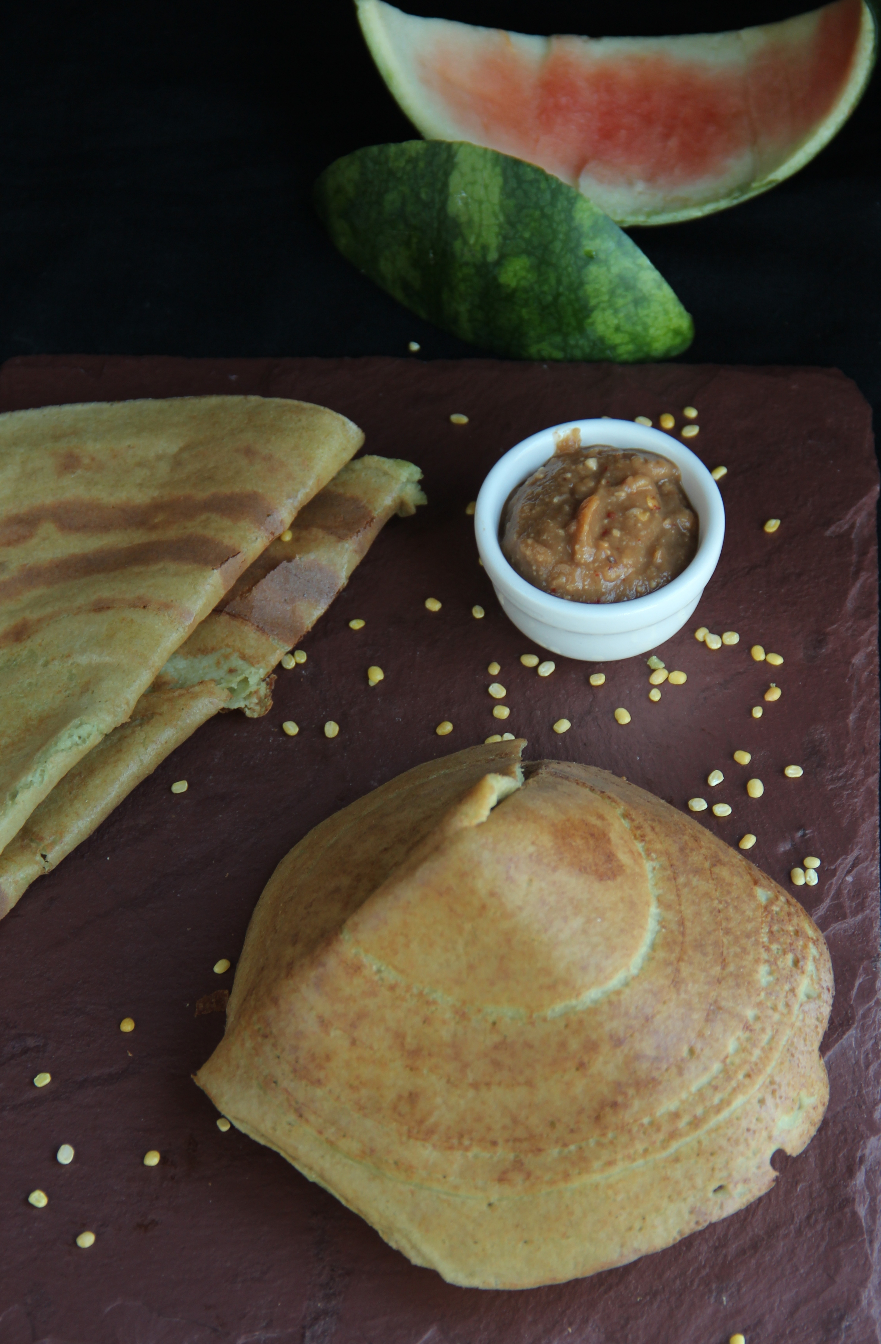 Watermelon rind/peel  and Yellow moong Dosa/crepes