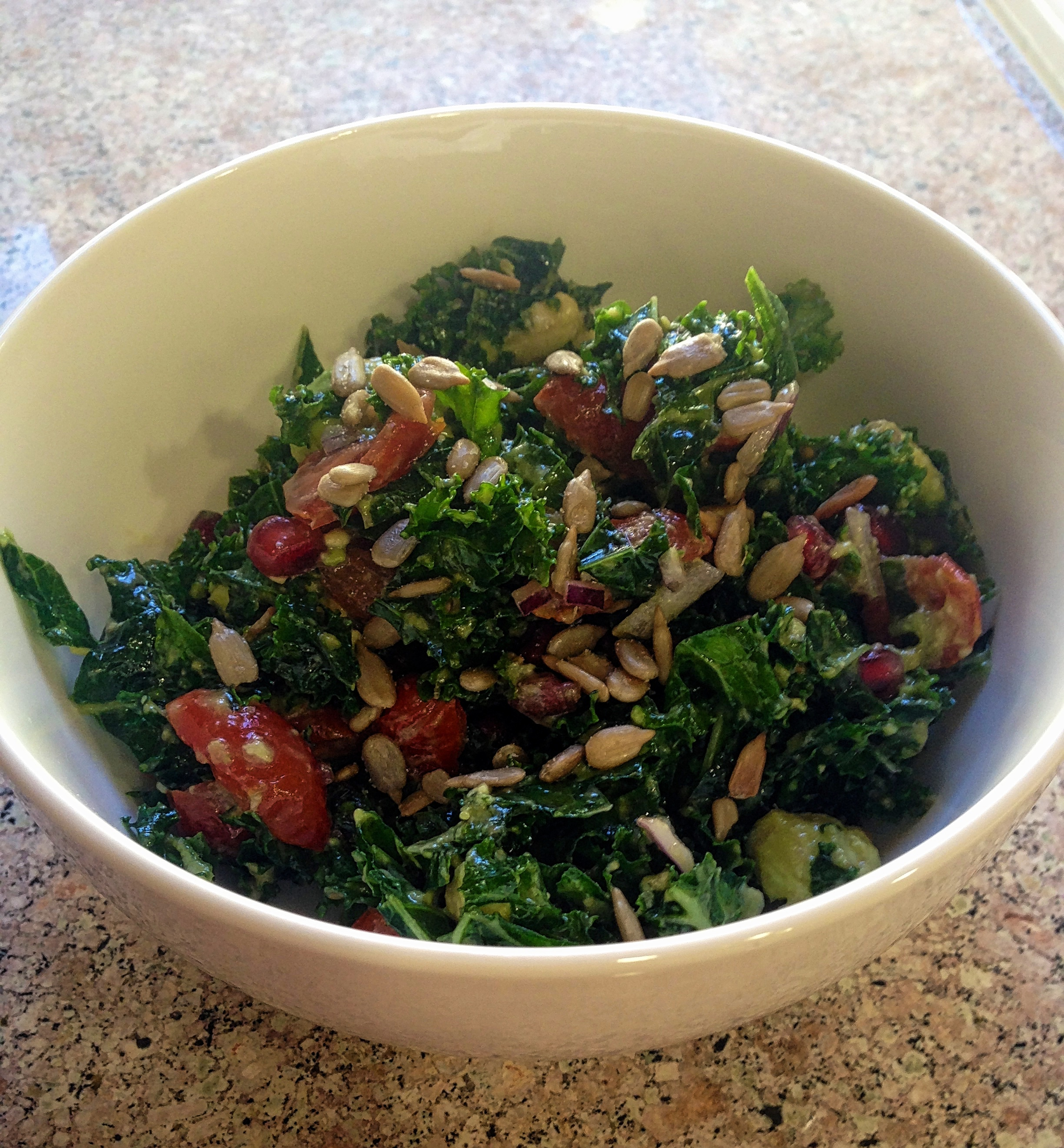 Kale Salad with Cherry Tomatoes and Avocados